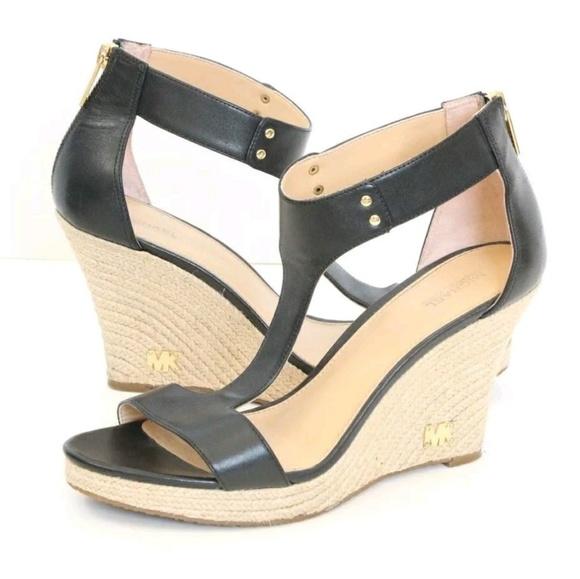 66b5c75a5e50e Michael Kors Shoes | Mk Open Toe Wedges High Heels 9 Black | Poshmark